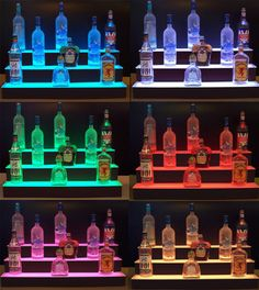 36 LED Lighted 3 Tier/Step Back Bar BOTTLE SHELF by RockStyleLED
