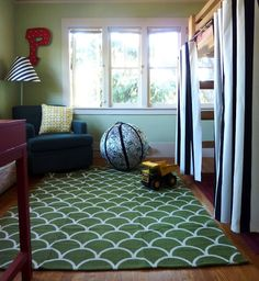 modern vintage little guys room with loft bed adding curtains for under the bed fort