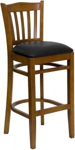 Flash XU-DGW0008BARVRT-CHY-BLKV-GG - HERCULES Vertical Slat Back Cherry Wood Bar Stool with Black Vinyl Seat | Sale Price: $85.13