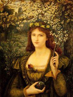 Madonna Pietra degli Scrovigni (1884). Marie Spartali Stillman (British, 1844-1927). Watercolor, gouache and gum arabic. Walker Art Gallery.
