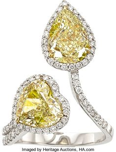 Yellow Diamond, Diamond and White Gold Ring.