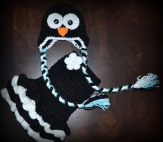 Crochet Penguin Earflap Baby Beanie Hat & Matching Tutu Dress Photo Prop Custom Made Boy Girl Costume $60
