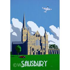 Salisbury Cathedral with Spitfire vintage inspired prints and original by artist Richard Watkin. www.watkinart.co.uk