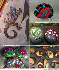 Great idea for stone art rocks that rock! поделки, камни, р Stone Crafts, Rock Crafts, Diy Arts And Crafts, Crafts To Make, Crafts For Kids, Fun Crafts, Pebble Painting, Pebble Art, Stone Painting