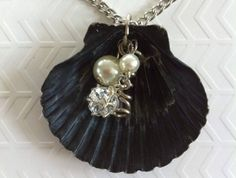 Unusual black seashell with imitation pearl and crystal charms and silver tone chain Shell Shell Pendant, Shells, Drop Earrings, Jewellery, Pearls, Chain, Crystals, Natural, Silver