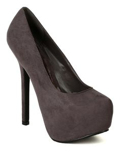 Grey Hidden Platform High Heel Stiletto Pump