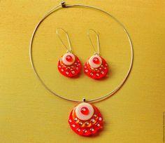 Купить комплект серьги и кулон яркокрасно и прекрасно, украшение, подарок - ярко-красный