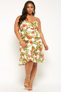 873e0f7ba949 Plus Size Tropical Floral Print Dress