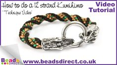 How to Braid 12 Strand Kumihimo | Twisted Kumihimo Braid from Beads Direct UK. Interesting crocodile and tiger end clasps.