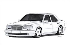 Mercedes-Benz Drawing by Vertualissimo on DeviantArt Mercedes 190, Mercedes Benz 190e, M Benz, Classic Mercedes, Benz Car, Sp2 Vw, Kritzelei Tattoo, Pearl Tattoo, Cool Car Drawings