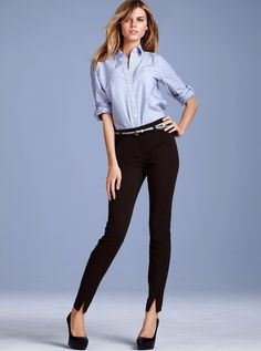This is a great work style. I really like the skinny jeans with the heels, I could start wearing this. I also like the skinny belt and the blouse tucked in to the jeans.