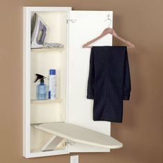 StowAway® In-Wall Ironing Boards provide beauty and efficiency to make ironing easier. This easy-to-use board installs between the framing studs in your wall, so your ironing board stays out of sight but close at hand. Inside the cabinet are two shelves with all the space you need to tuck away all your ironing gear, from starch and spray bottles to your still-warm iron, thanks to the heat resistant barrier on the deep upper shelf. But it is the ironing board that makes this StowAway®…