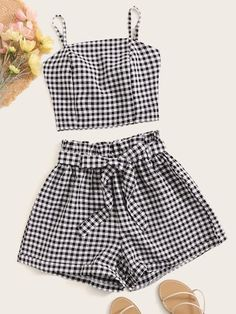 Shop Gingham Tie Back Shirred Cami Top With Belted Paperbag Shorts at ROMWE, discover more fashion styles online. Cute Comfy Outfits, Pretty Outfits, Stylish Outfits, Cool Outfits, Two Piece Outfits Shorts, Girls Fashion Clothes, Summer Fashion Outfits, Clothes For Women, Women's Clothes