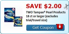 Tri Cities On A Dime: SAVE $0.75 ON TAMPAX PEARL PRODUCT - 18 CT OR LARG...