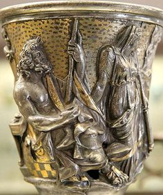Seated Poseidon and the other Isthmian gods with a goddess, detail of a cup dedicated to Mercury by Quintus Domitius Tutus. Repoussé silver with gold, Italy, middle century AD. From the Berthouville treasure, Ancient Aliens, Ancient Rome, Ancient Art, Ancient History, Greek History, Roman History, Antique Art, Antique Jewelry, Art Romain