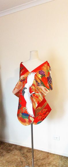 Vintage wedding KIMONO Shawl butterfly red white gold spring flower crane silk gold brocade bow OBI size free ready to ship