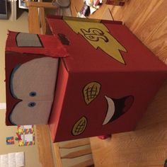Lightning McQueen cardboard box painted with acrylic paint.