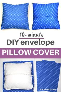 DIY envelope pillow cover is a perfect sewing project for beginners. Learn to make an easy envelope pillow cover in just minutes with this free sewing tutorial.The envelope pillow cover is a quick and Sewing Pillow Patterns, Sewing Pillow Cases, Handmade Pillow Covers, Pillowcase Pattern, Sewing Pillows, Easy No Sew Pillow Covers, Square Pillow Covers, Sewing Case, Outdoor Pillow Covers