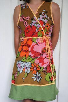 Brown Vintage Tablecloth Dress by mama_lindsay, via Flickr