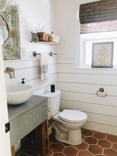 Home Decor Decoracion terracotta bathroom tiles - concrete bathroom vanity Boho Bathroom, Bathroom Renos, Basement Bathroom, Bathroom Faucets, Cheap Bathroom Tiles, Bathroom Ideas, Small Space Bathroom, Bathroom Styling, Bath Ideas