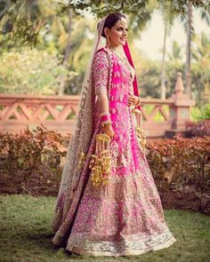 "Brides who wore Pink Lehengas on their Wedding Ceremonies & looked ""Cute as a Cupcake"". How To Choose Indian Bridal Jewellery Minimal Wedding Dress, Black Wedding Dresses, Princess Wedding Dresses, Bridal Wedding Dresses, Bridal Outfits, Bridal Style, Ball Dresses, Ball Gowns, Latest Bridal Dresses"