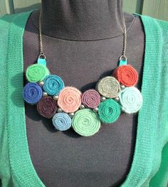 Bib necklace from wool sweaters.