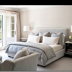 grey and blue bedroom color schemes and bedrooms sand beige walls paint color polished chrome modern lamps gray blue velvet headboard bed bedding white - Beige And Blue Bedroom Ideas