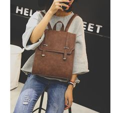 Korean preppy wind restoring ancient ways backpack students leather bags female travel backpack Laptop Backpack, Leather Backpack, Travel Backpack, Leather Bags, Fashion Bags, Fashion Backpack, Campus Style, Look Chic, Minimal Fashion