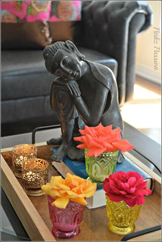 Indian decor, Buddha decor, buddha, calmness, serenity, roses, color inspiration, on the coffee table, interior styling, coffee table styling, interior design