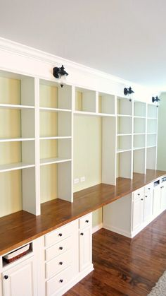 build a wall-to-wall built-in desk and bookcase unit, Home Is Where My Heart Is featured on Remodelaholic Office Built Ins, Office Bookshelves, Bookshelves Built In, Bookcases, Diy Built In Shelves, Bookshelf Plans, Desk Plans, Office Desk, Floating Shelves