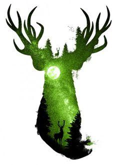 dverissimo designstudio animals animalia deer forest moon stars night space mystic nocturne green trees wild deep peace illustration photo silhouette digital Animals