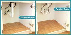Space saving plumbing under kitchen sink Home Renovation, Home Remodeling, Kitchen Remodeling, Simple Shed, Welding Table, Bathroom Renos, Bathroom Storage, Bathroom Plumbing, Plumbing Pipe