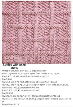 Lattice With Seed Stitch Free Knitting Pattern - Knitting Kingdom # gitter mit samenstich free knitting pattern - knitting kingdom # en tricot avec motif de point de semence gratuit - royaume de tricot Knitted Squares Pattern, Knitted Dishcloth Patterns Free, Knitting Squares, Easy Knitting Patterns, Knitting Projects, Baby Blanket Knitting Pattern Free, Free Pattern, Knitted Dishcloths, Knitting Tutorials