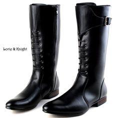 Classic Black Men British Motorbike Riding Boots Military Winter Boots Cowboy Martin Boots