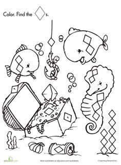 Preschool Kindergarten Shapes Nature Worksheets: Shape Search: Fishing for Treasure