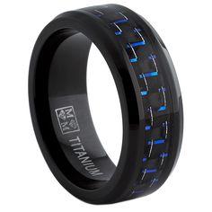 Oliveti Black Titanium Men's Black and Blue Carbon Fiber Comfort Fit Band (8mm) | Overstock™ Shopping - Big Discounts on Men's Rings
