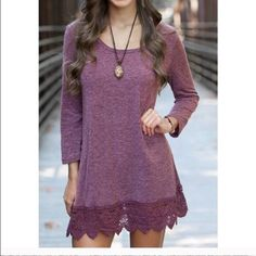 "Crochet Trim Dress Gorgeous purple scoop neck long sleeve dress with lace detail on the bottom. Length shoulder to hem 34.5"". Soft medium weight fabric. Dresses"