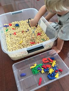 3 years to 3 years 11 months Bug sorting Recourses : different colour plastic bugs, macaroni