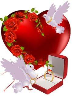 A Red Heart Adorned by roses and doves. Repinned By Tiffany Says Hop Into My Delorean (1) I Love You Pictures, Love You Gif, Love You Images, Dove Images, Heart Images, Happy Birthday Celebration, Birthday Wishes, Heart Art, Love Heart