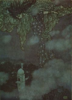 Edmund Dulac illustration from Rubaiyat of Omar Khayyam 33:  Earth could not answer; nor the Seas that mourn; In flowing Purple, of their Lord forlorn; Nor rolling Heaven, with all his Signs reveal'd; And hidden by the sleeve of Night and Morn.