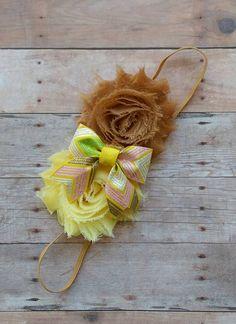 Fall Yellow and Tan Shabby Flower Headband