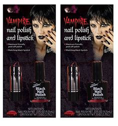 Potomac Banks Black Nail Polish & Lipstick Halloween Costume Make-up Kit (Pack of 2) with Free Makeup #Vampire #Halloween #Costumes