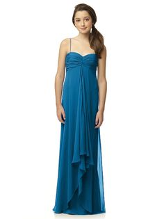 Jenna?  Full length lux chiffon junior dress w/ skinny spaghetti straps and sweetheart neckline. Draped detail at center front skirt w/ subtle draped hi-lo hem.   http://www.dessy.com/dresses/junior-bridesmaid/JR518/