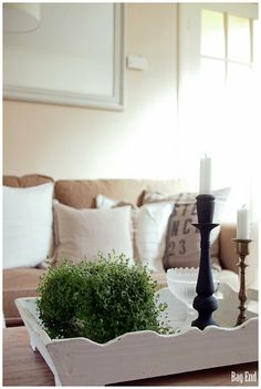 Muted colours in the living room