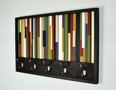 Coat Hooks  Reclaimed Wood Art  Abstract by moderntextures on Etsy, $325.00