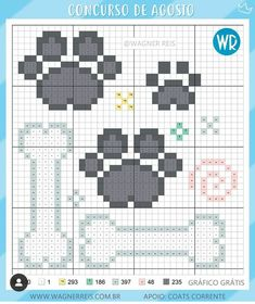 Mini Cross Stitch, Cross Stitch Cards, Cross Stitch Animals, Cross Stitching, Dog Pattern, Knitting Charts, Plastic Canvas Patterns, Le Point, Embroidery Stitches