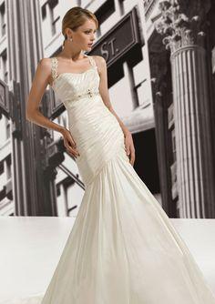 Fit & Flare Halter Neckline Pleated Dropped Waist Taffeta Wedding Dress-wf0012, $259.95
