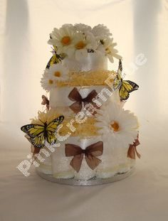 Butterfly Nappy Cake - When the Butterflies Awake.     Great as a centrepiece at a Baby Shower