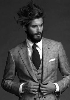 Mens fashion, fashion hair, sharp dressed man, well dressed men, bearded me Beards And Mustaches, Suit Up, Suit And Tie, Sharp Dressed Man, Well Dressed Men, Business Casual Dresscode, Fashion Mode, Mens Fashion, Fashion Hair