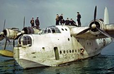 This is a nice reproduction of an original WWII photograph showing a RAF Short Sunderland Flying Boat (the contemporary of the US PBY) in original WWII Color. Size of photo is about x Amphibious Aircraft, Ww2 Aircraft, Military Aircraft, Military Jets, Short Sunderland, Me262, Float Plane, Sea Plane, Old Planes